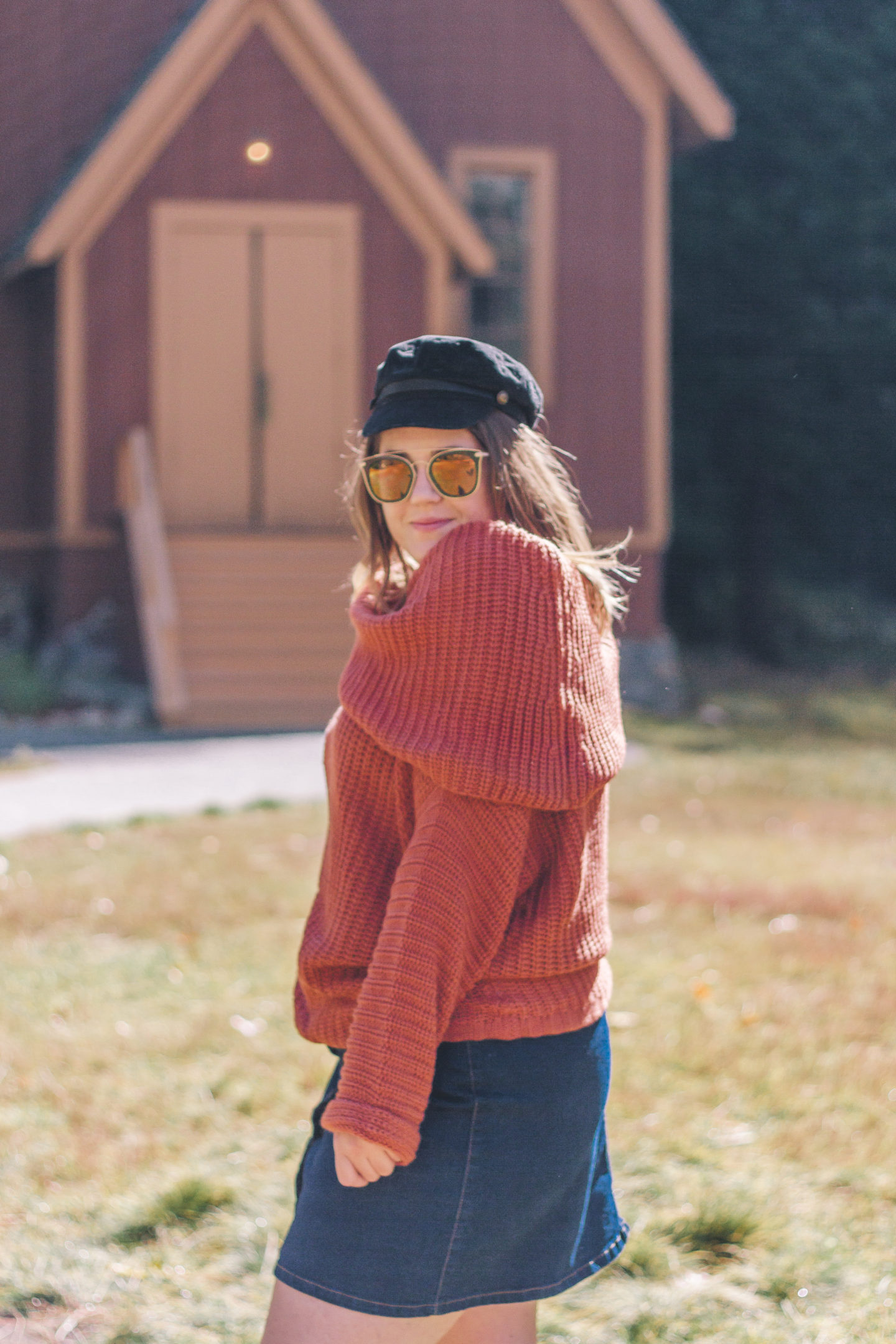 rust chunky sweater, fall outfit, impressions online boutique, yosemite valley chapel