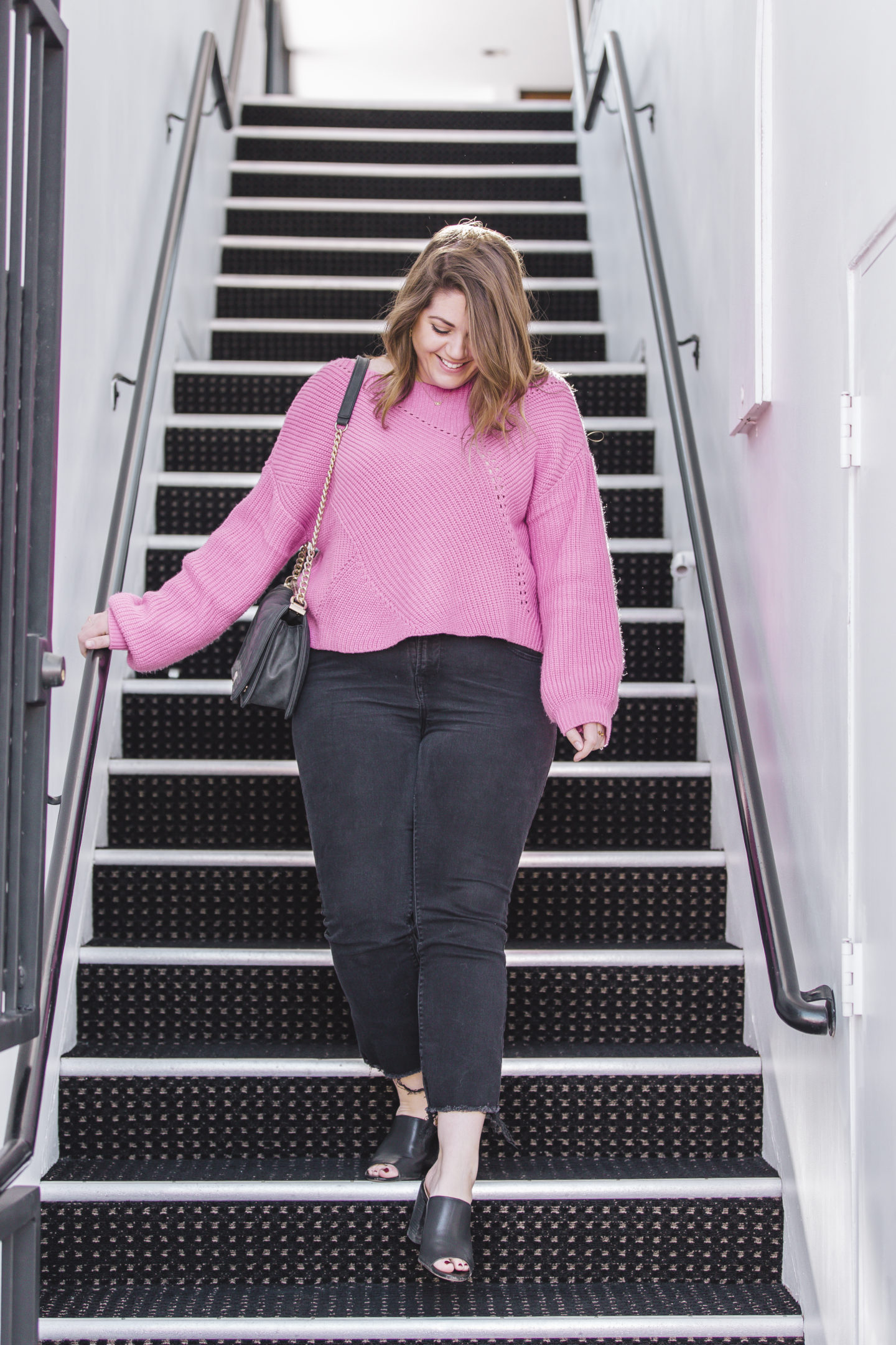 pink sweater, winter outfit, lido marina village, orange county fashion blogger