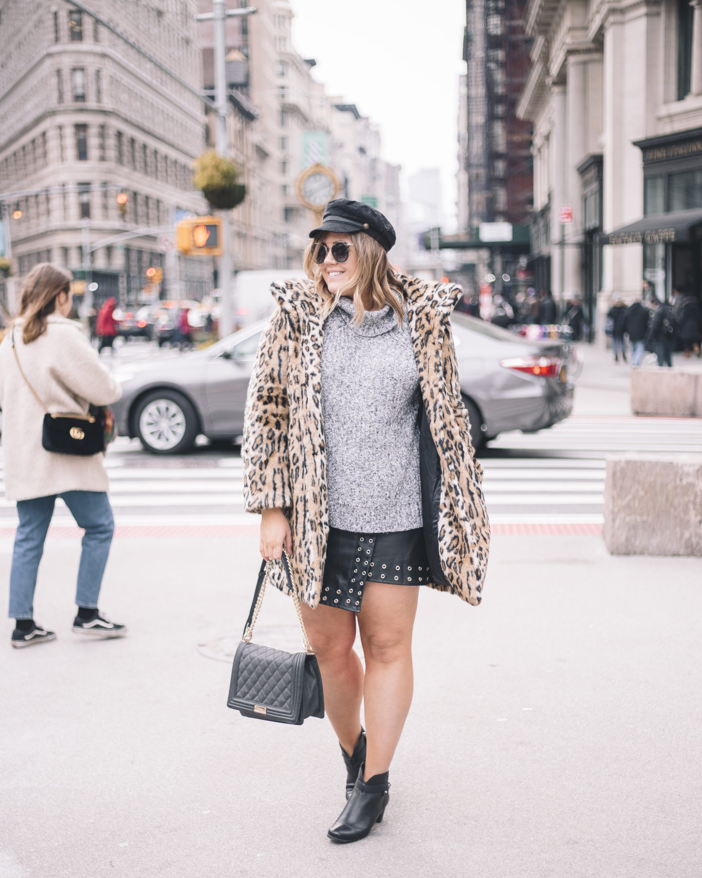 Monochrome Outfit + A Pop Of Leopard at NYFW
