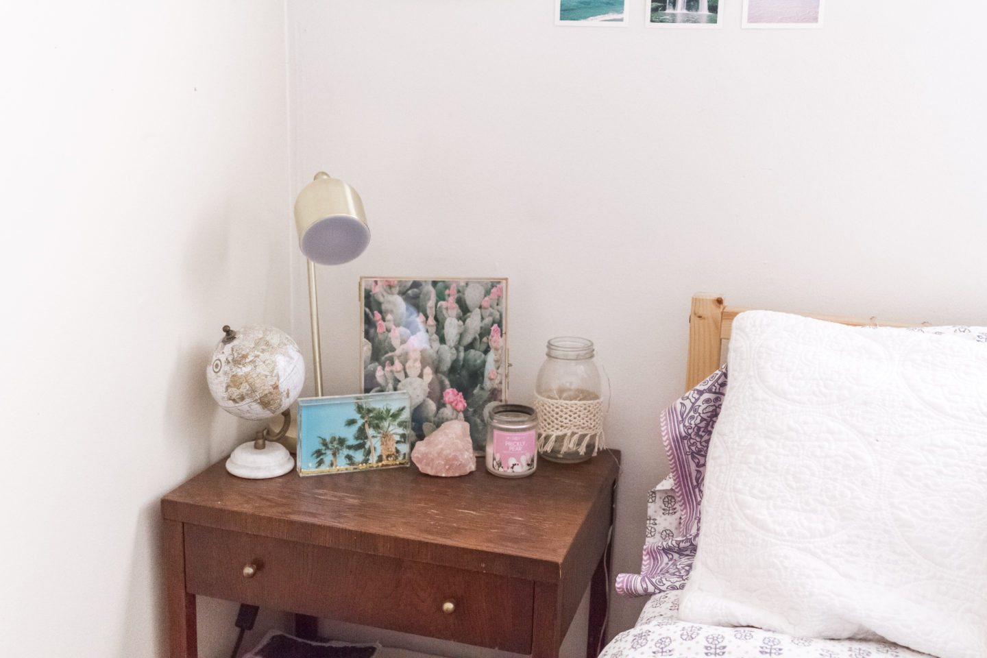 bedside table styling, bright boho chic bedroom #mypbteen #sponsored
