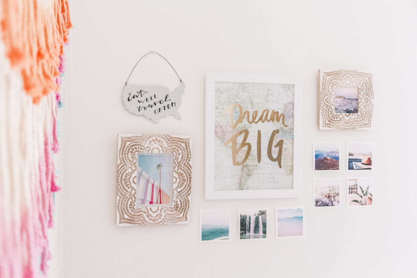 small gallery wall, bright boho chic bedroom #mypbteen #sponsored