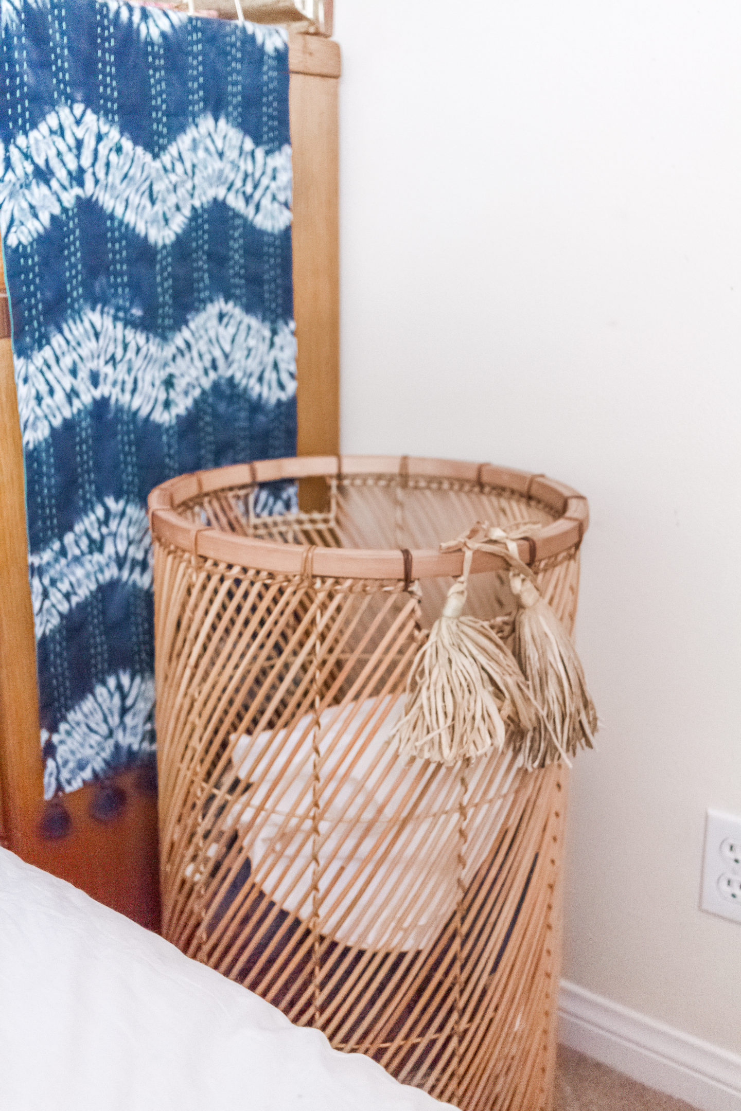 rattan hamper, bright boho chic bedroom #mypbteen #sponsored