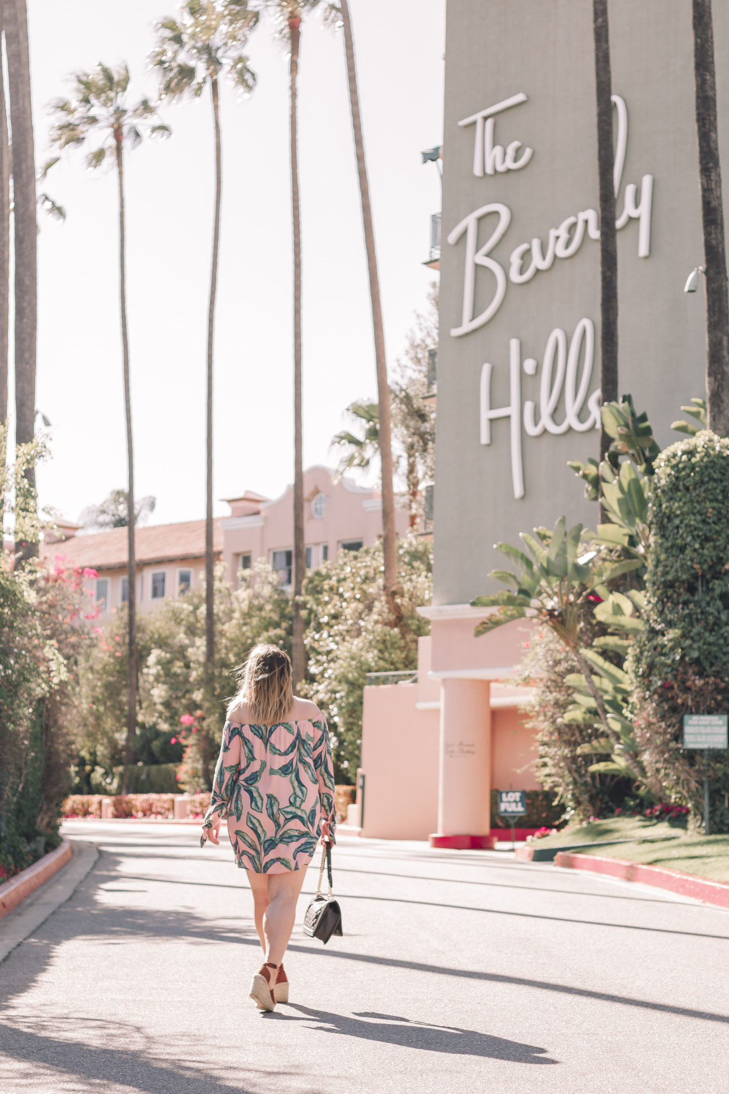 Palm Print Dress at The Beverly Hills Hotel