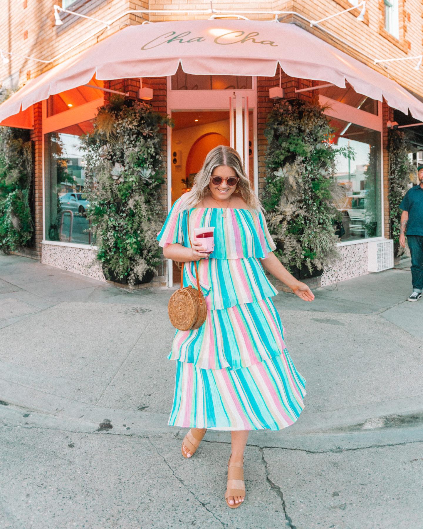 rainbow stripe midi dress, cha cha matcha, spring dress