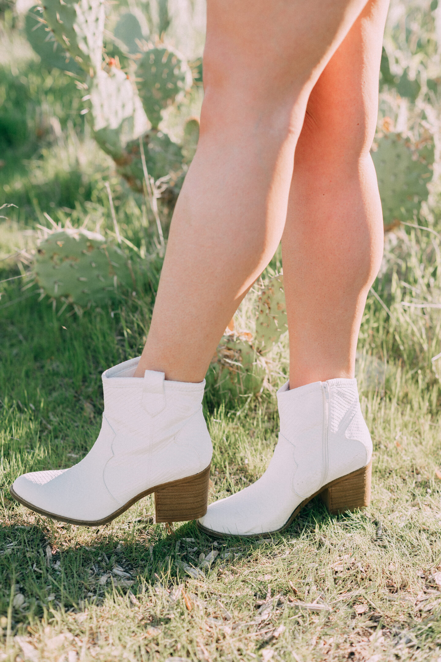 white cowboy booties